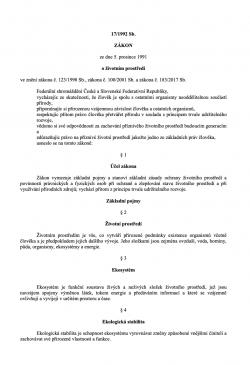 Zákon č. 17/1992 Sb., o životním prostředí