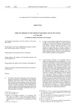 Directive 2008/50/EC of the European Parliament and of the Council on ambient air quality and cleaner air for Europe