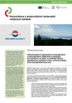 Příklad dobré praxe – představení plánovaných veřejných zakázek zadavatele Povodí Vltavy, státní podnik
